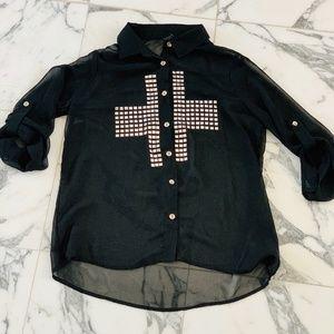 Rue 21 Studded Cross Sheer Button Up Sz S